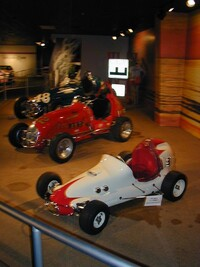 front to rear - 1959  Midget, Offy Midget and Sumar Special dirt racer
