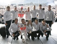 2008 Stars and Cars,the Mercedes-Benz drivers (2nd row, from left): Bruno Spengler, Marco Engel, Lewis Hamilton, Heikki Kovalainen, Gary Paffett, Paul di Resta, ...