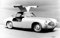 "Version of the Mercedes-Benz 300 SL (W 194) with modified spaceframe to allow larger gullwing doors and broader competition wheels with Rudge central locking ""W ..."
