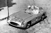 Stirling Moss and Denis Jenkinson won the race in record time driving a Mercedes-Benz Type 300 SLR (W 196 S) racing car