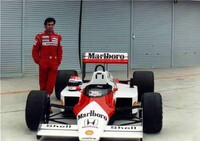 Since 1988, Emanuele was McLaren's Formula 1 test driver for several years. He did much testing at Suzuka. Pirro is shown here aside of the first McLaren equipp ...