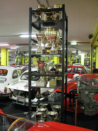 Trophy display including the first trophy won by Abarth in the XVI Mille Miglia