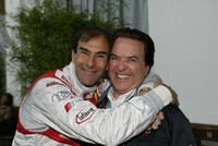 Emanuele Pirro with Team Director Reinhold Joest (right)