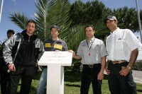 Bern Schneider. HH Frentzen, Jean Alesi, Emanuele Pirro (right) at the induction of the Ayrton Senna Square