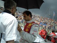 Emanuele Pirro with race engineer Reinhardt Lechner